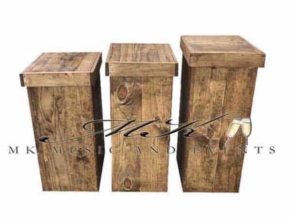Rustic pedestals rental - Event rentals , party rentals , wedding rentals