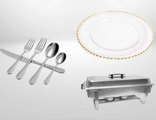 Charger plates and dinnerware rentals miami