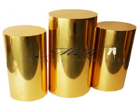 Gold pedestals rental - Event rentals , party rentals , wedding rentals