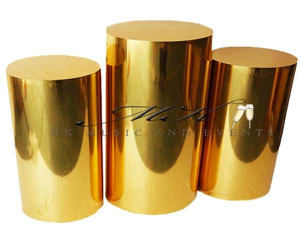 Gold pedestals rental - Event rentals , party rentals , wedding rentals