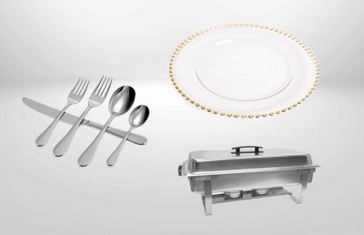Charger plates , flatware and glassware rental Miami